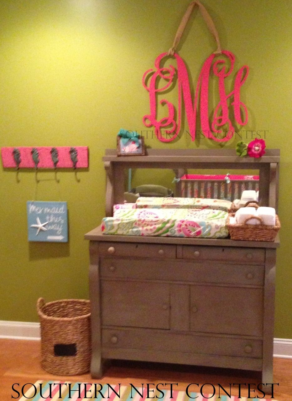 Large monogram wall decoration | baby nursery | baby girl room ...