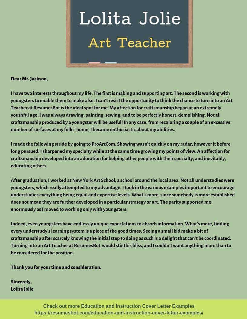 Art Teacher Cover Letter Samples & Templates [PDF+Word ...