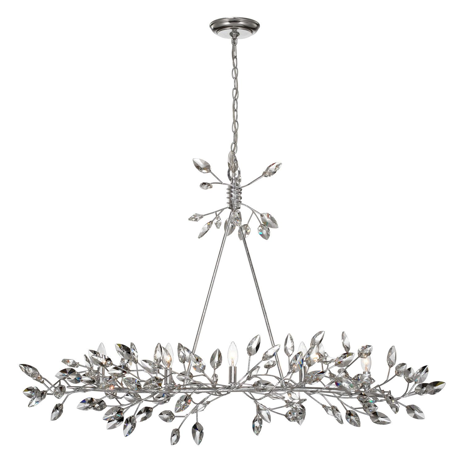 Zeev Lighting Misthaven Silver Leaf with Clear Crystal 5 Light