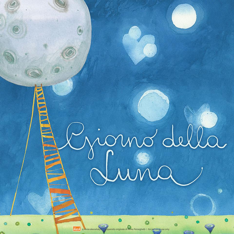 Illustrazione Goccioline per la Giornata della Luna  che si celebra il 20 luglio - Moon day illustration