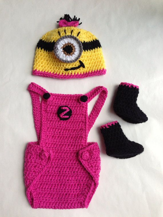 Pink Girl Minion Hat, Overalls & Booties | crafts | Pinterest ...
