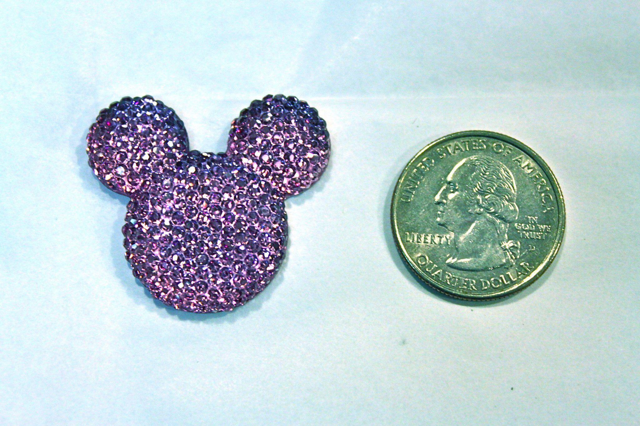 1 Piece - Purple Sparkle Mouse Head Resin