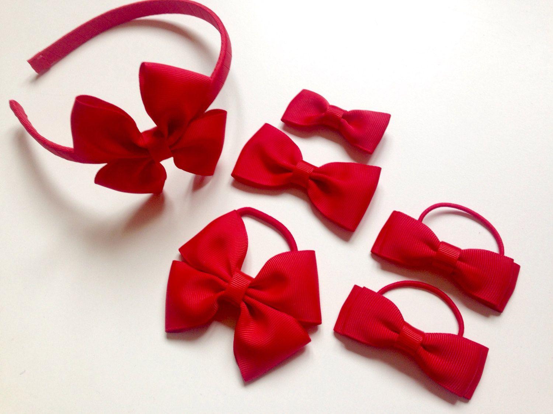Mini Bow on Headband School Hair Band with pair of bow on Hair Elastics bobbles