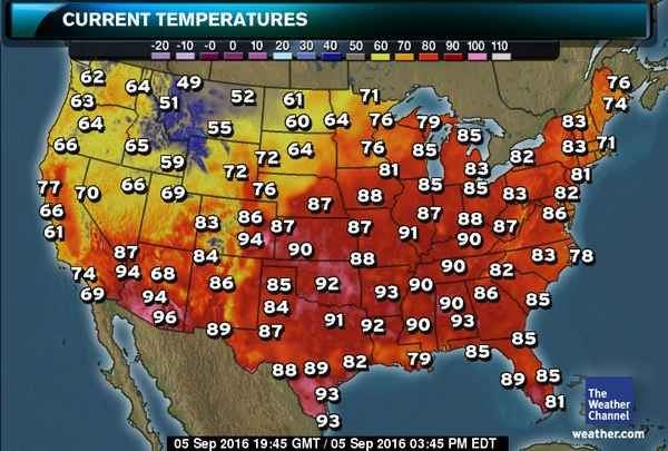 Us Map Current Temperatures US Current Temperatures Map | The weather channel, Survival mom, San
