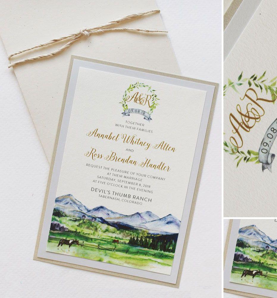 Annabel A. Watercolor Mountain Landscape Wedding
