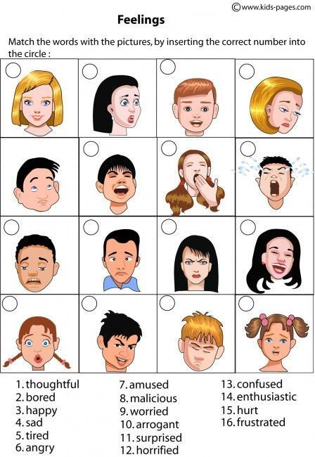 Kids Pages - Feelings Matching 1 - includes multiple worksheet ...