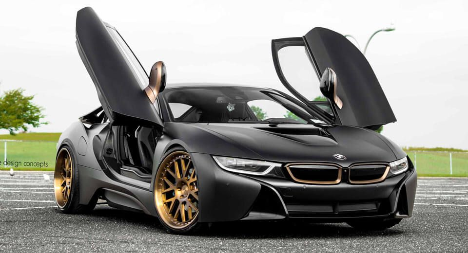 Matte Black Bmw I8 Stuns With Bronze Wheels With Images Matte