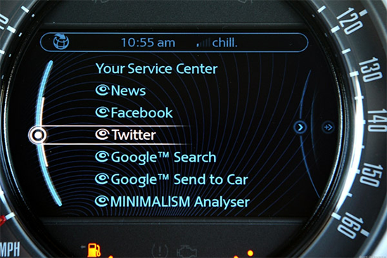 Who doesn't want Twitter functionality inside their speedometer? (Source: CNET)