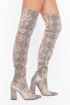 pu stretch snake otk flare heel boots 15000 usd in 2020