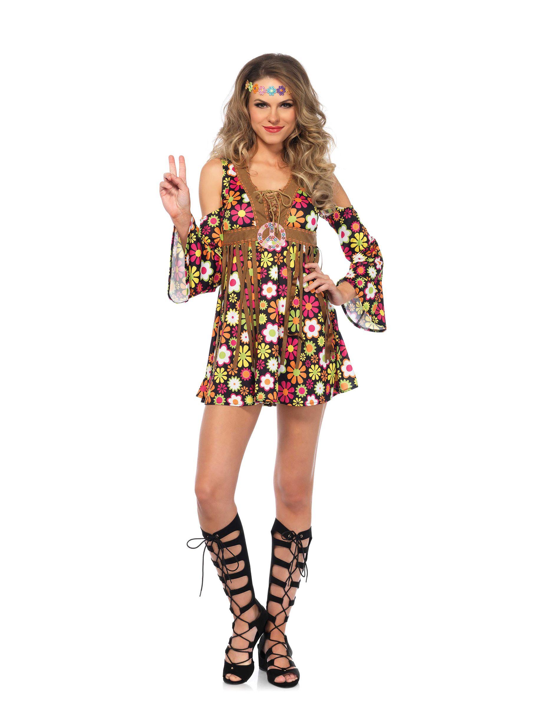 ANNI 60 PSYCHEDELIC Hippy Donna Costume Anni/'60 Retrò da donna Hippie Costume da adulto