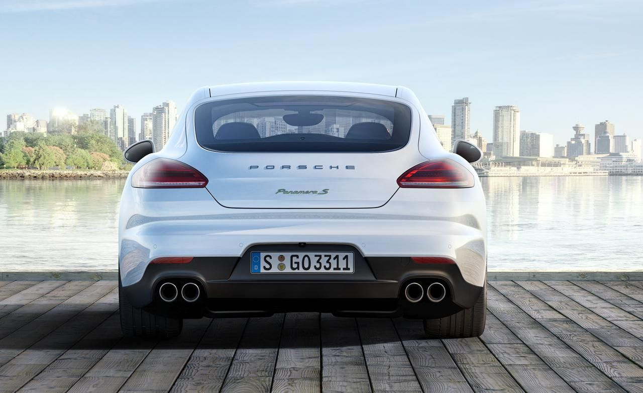 2014 porsche panamera turbo s white rear view wallpaper