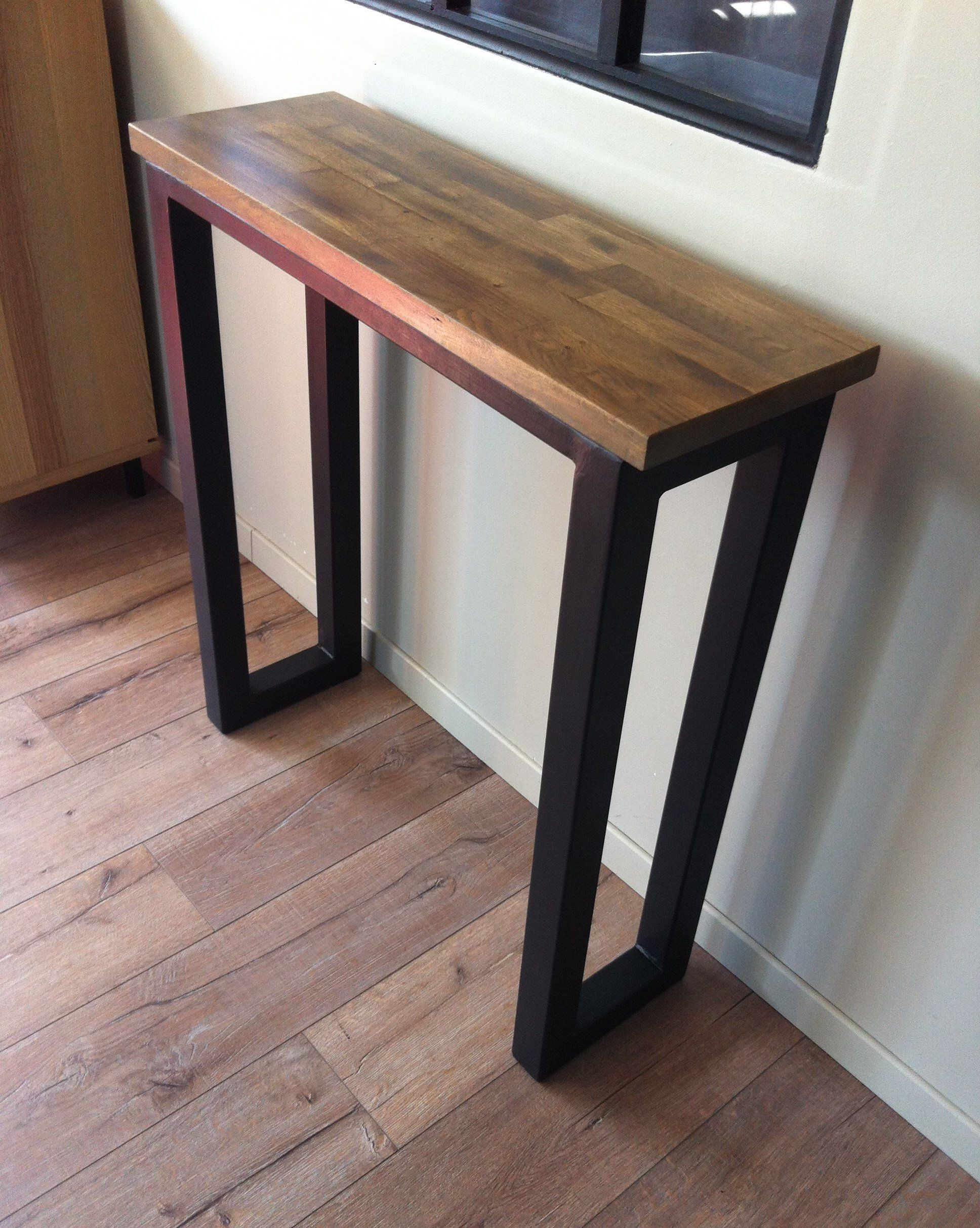Console D Entree Bois Et Metal Wood And Metal Wood Metal Console