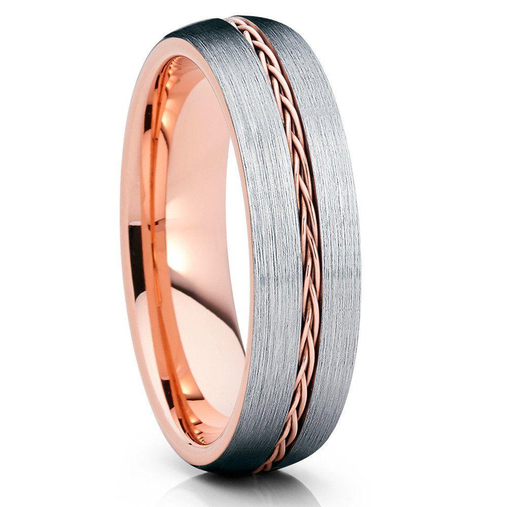 6mm Rose Gold Tungsten Rose Gold Braid Tungsten Wedding Band Grey Tungsten Gold Tungsten Ring Rose Gold Tungsten Ring Wedding Rings