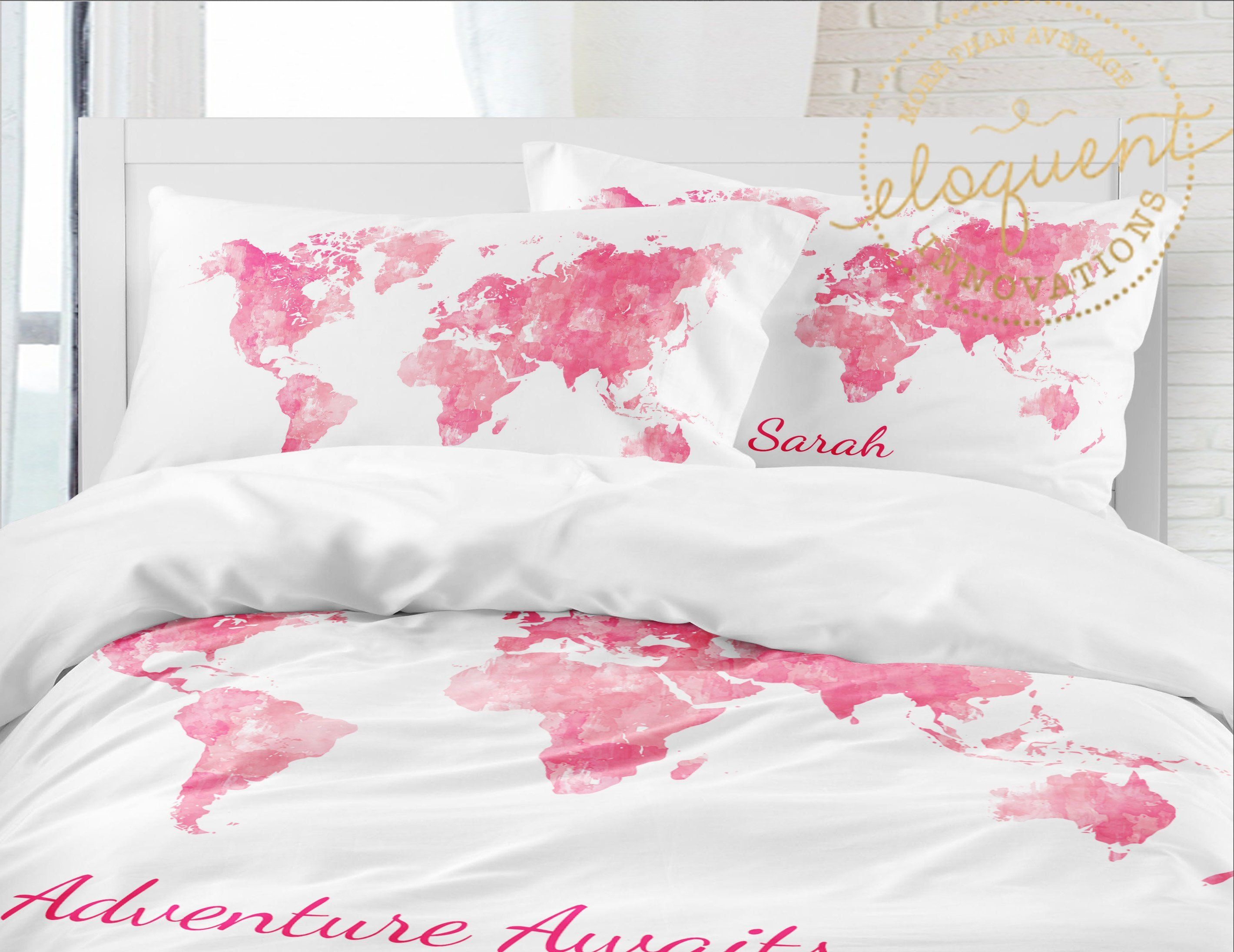 Map of the World Duvet Cover - Girls Pink Bedding Set - Personalized ...