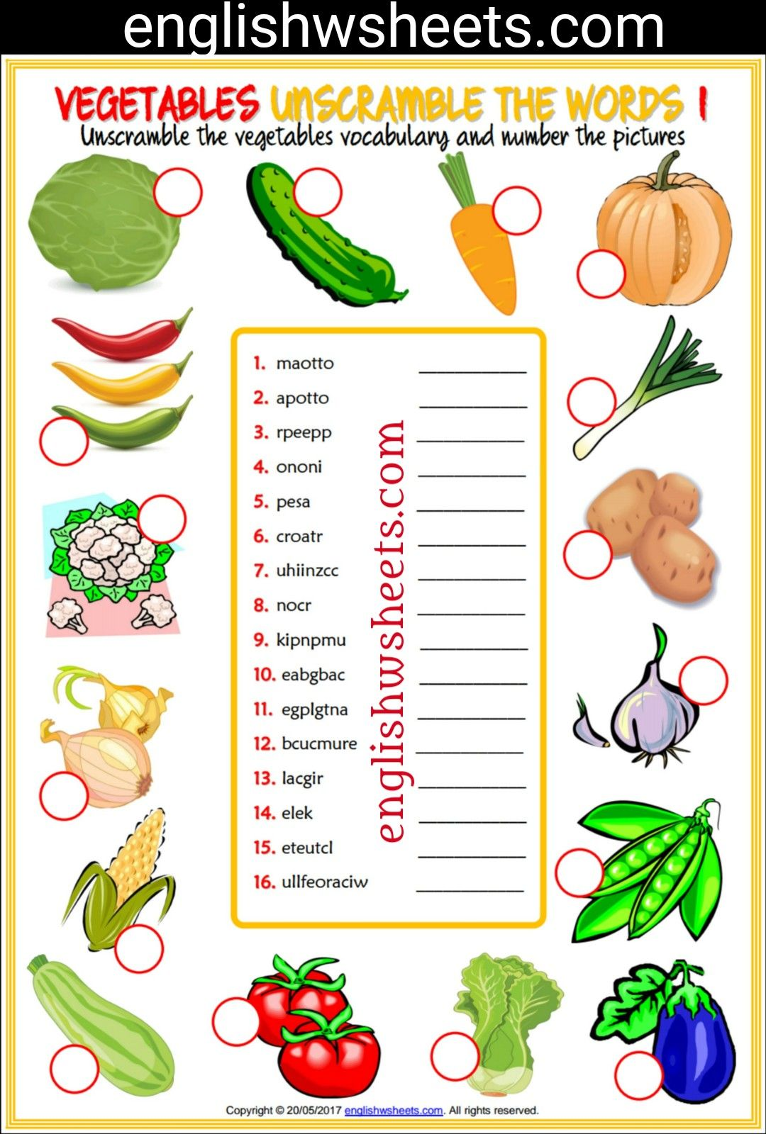 Vegetables Esl Printable Unscramble The Words Worksheets