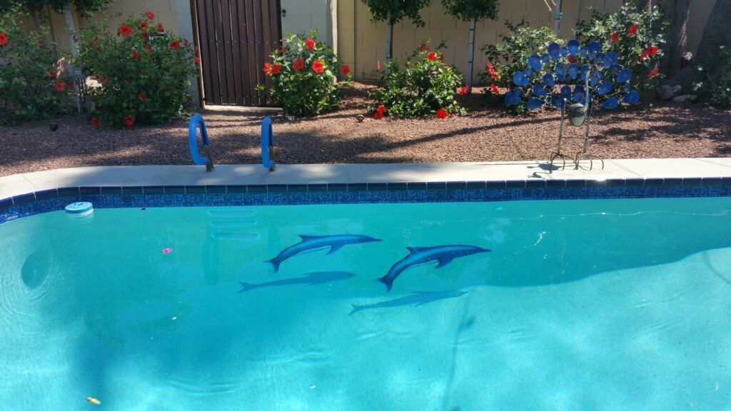 Dolphin Group Ceramic Swimming Pool Mosaic (Blue, 62\