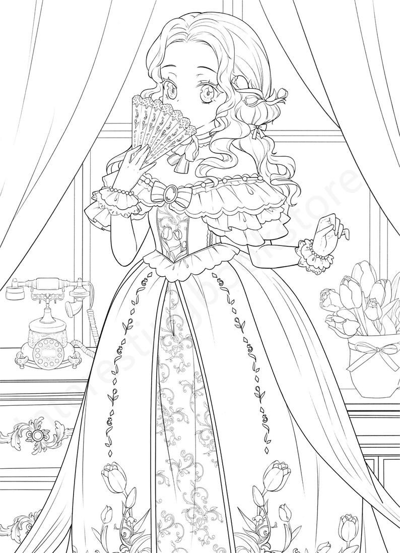 Chinese Coloring Book For Adults Flower And Mengnianglovely Etsy Coloring Pages For Girls Coloring Books Princess Coloring Pages