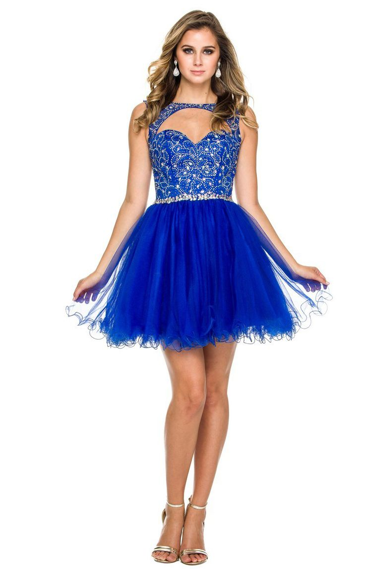 Homecoming and cocktail mini dress has jewels and beading