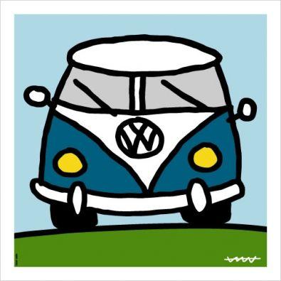 Alfombra cocina Volkswagen Azul Kombi Campervan | Dibujos de