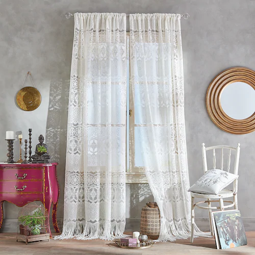 Boho Lace Poletop Ivory Curtains In 2020 Lace Curtain Panels Ivory Curtains Boho Curtains