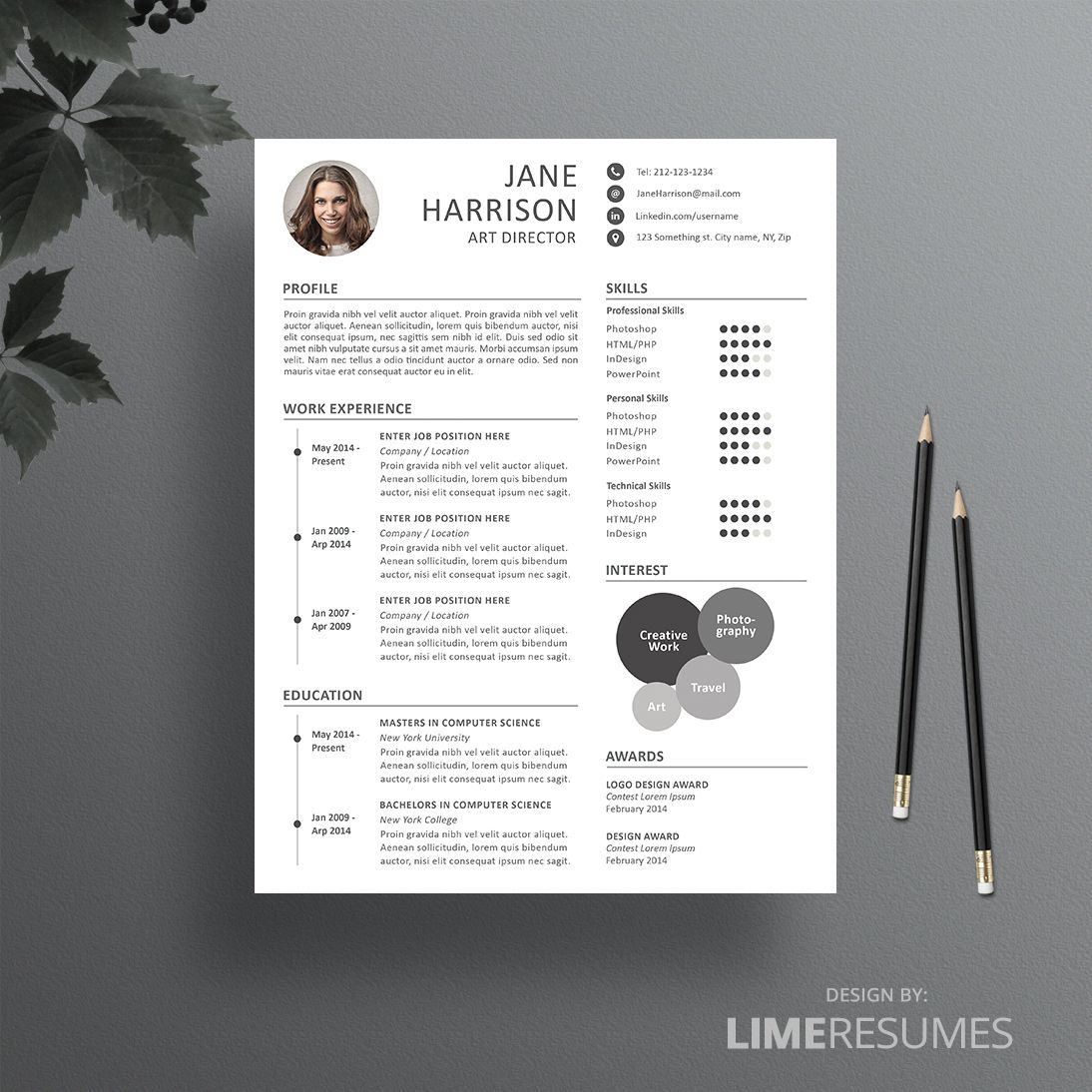 Free Creative Resume Templates Creative Resume Template For Creatives  Cv Template Creative