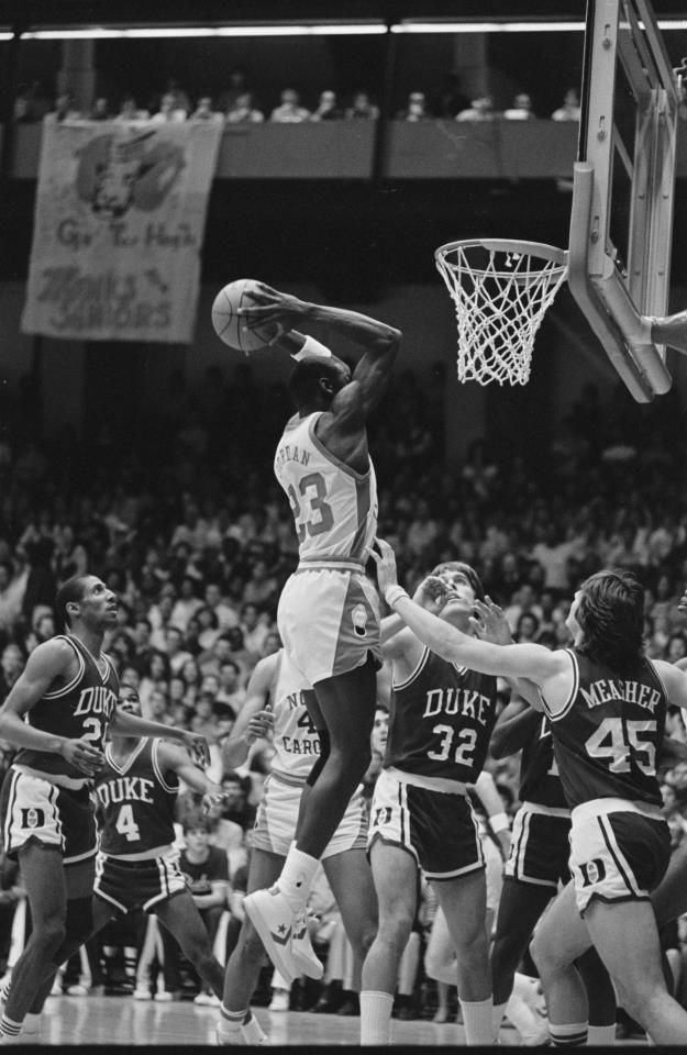 Michael Jordan dunks over Duke at Carmichael Auditorium on March 2 ... 7f5218385f