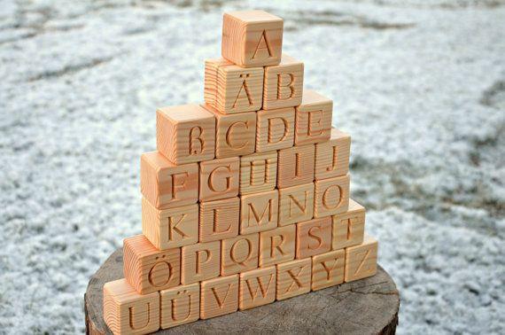 30 Wooden German Alphabet Letter Blocks Handmade by KlikKlakBlocks