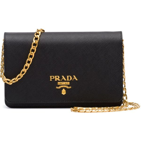 d89f6a3058e5 Prada Saffiano Lux Crossbody Bag ($1,270) ❤ liked on Polyvore featuring bags,  handbags, shoulder bags, black, prada crossbody, chain handle handbags,  prada ...