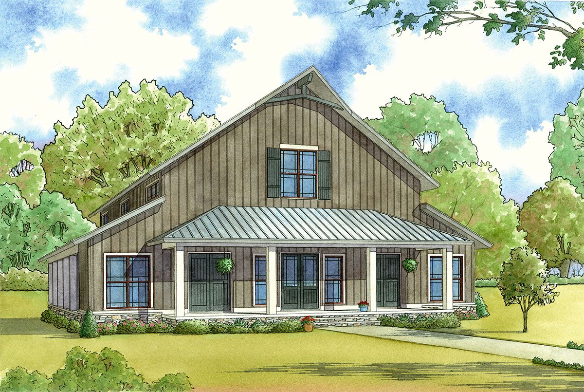 Plan 70549mk 3 Bedroom Barndominium Inspired Country House Plan With Two Balconies Barn Style House Barn Style House Plans Country Style House Plans