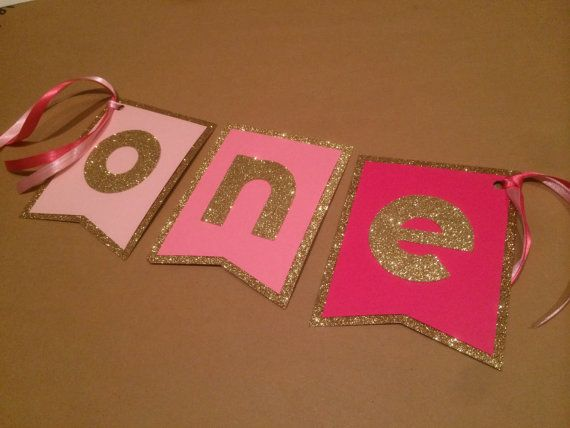 Pink Ombre and Gold Glitter High Chair Banner or by SimplyScissors