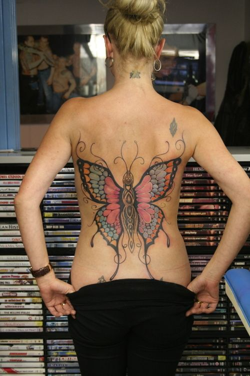Big Colored Butterfly Placement Butterfly Back Tattoo
