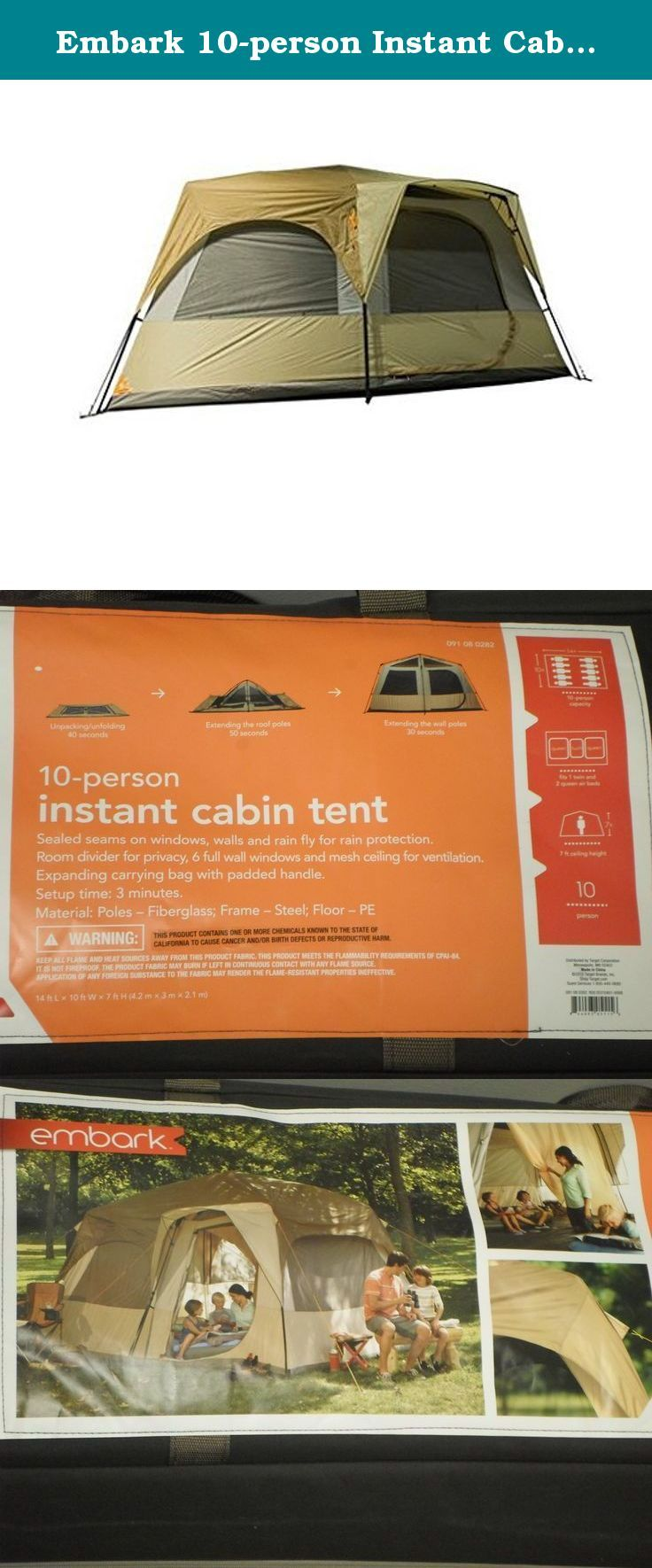 Embark 10 Person Instant Cabin Tent Embark 10 Person Instant Cabin Tent Sets Up In 3 Minutes Colors Brown And T Family Tent Camping 10 Person Tent Cabin Tent