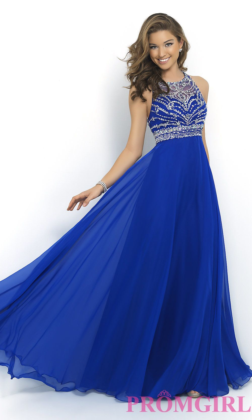 High neck long beaded gown by blush gowns prom and long