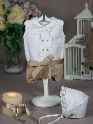 054b971be pelele lino blanco y punto camel paz rodriguez para bebé ideal para bautizo  verano