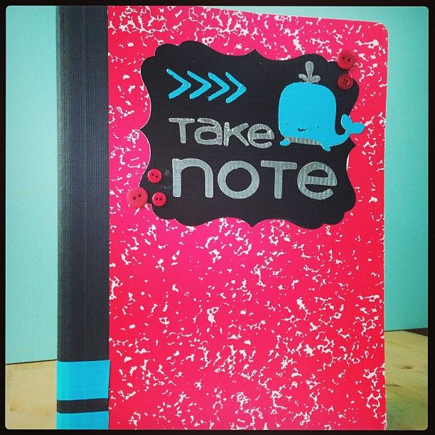 Duck Tape decorated notebook from Cricut