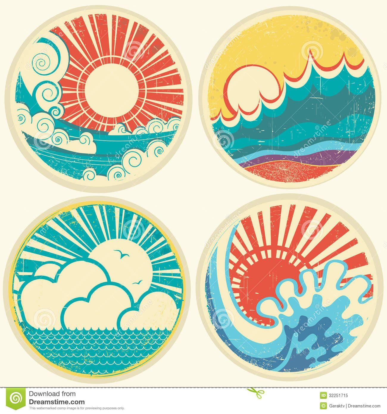 Vintage Sun And Sea Waves Vector Icons Of Illust Surf Art Drawings Art