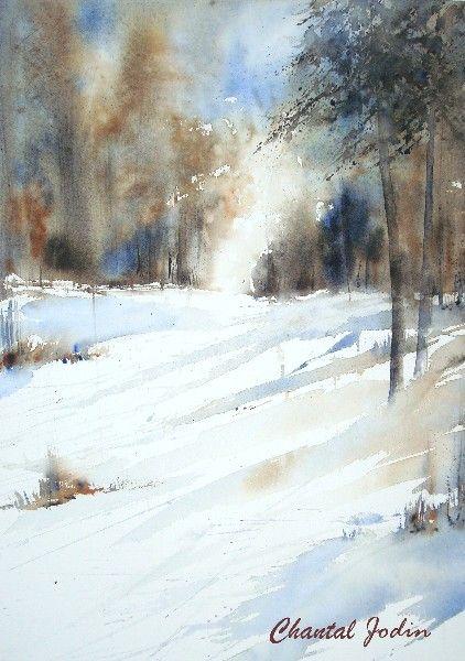 Paysages aquarelles en 2019 paysage aquarelle paysage hiver aquarelle et peinture aquarelle - Paysage enneige dessin ...