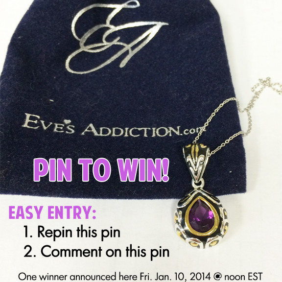 Pin It to Win It!  One lucky pinner will win this designer style amethyst CZ pendant! How to enter: 1. Repin this pin 2. Comment on this pin  One winner will be randomly selected and announced here on Friday, Jan. 10, 2014 @ noon EST. Open to USA and Canada residents only.