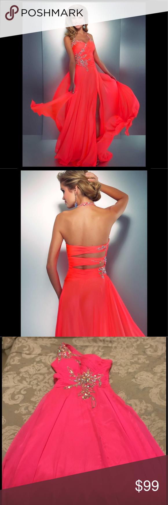 🔥hot🔥mac duggal hot pink chiffon evening gown | Pinterest