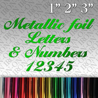 Metallic foil letters numbers iron on fabric transfer chrome sticker craft