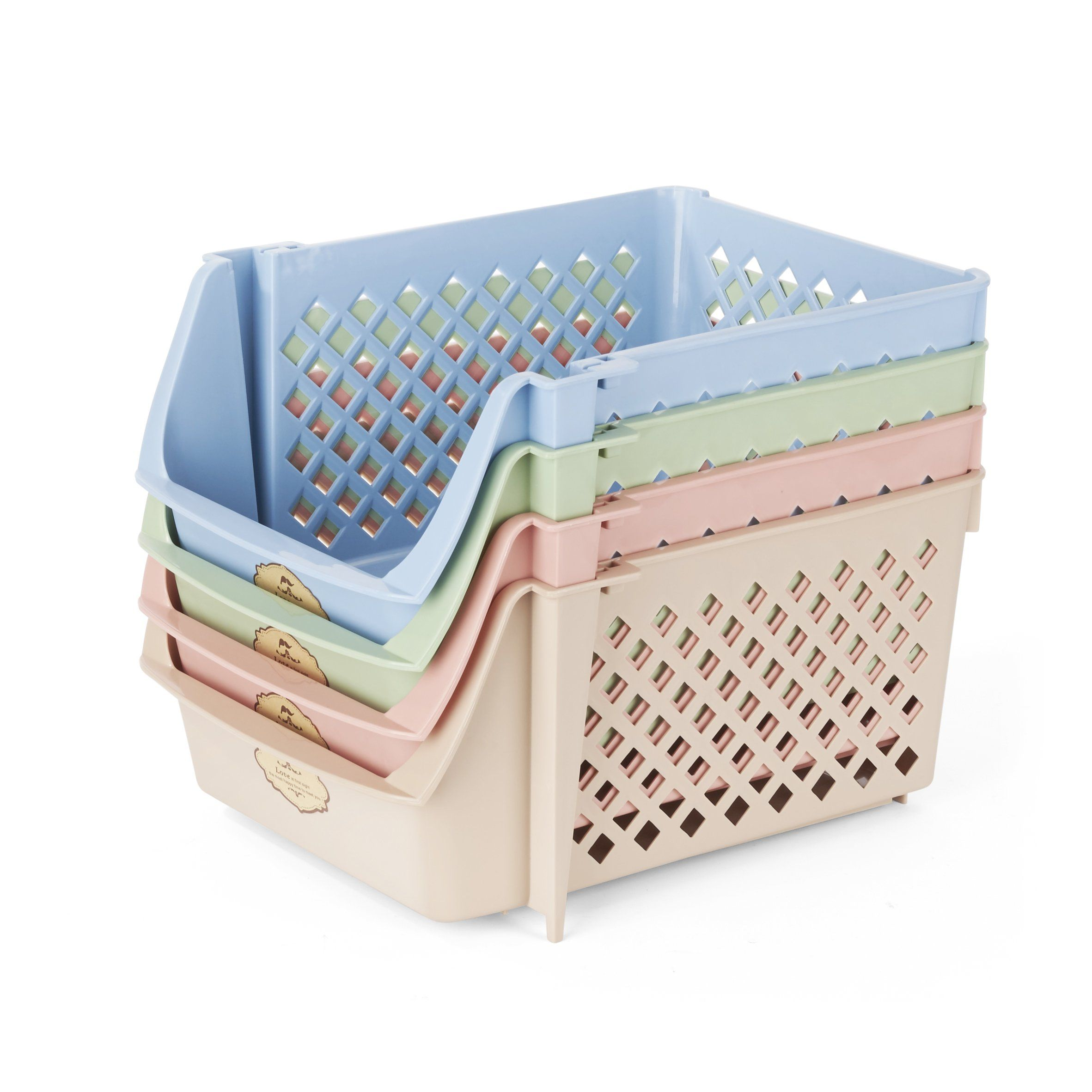 Titan Mall Storage Bins Plastic Stackable Storage Bins For Food Fruits Files Mixed Color Storage Baske Stackable Storage Bins Plastic Storage Bins Storage Bins