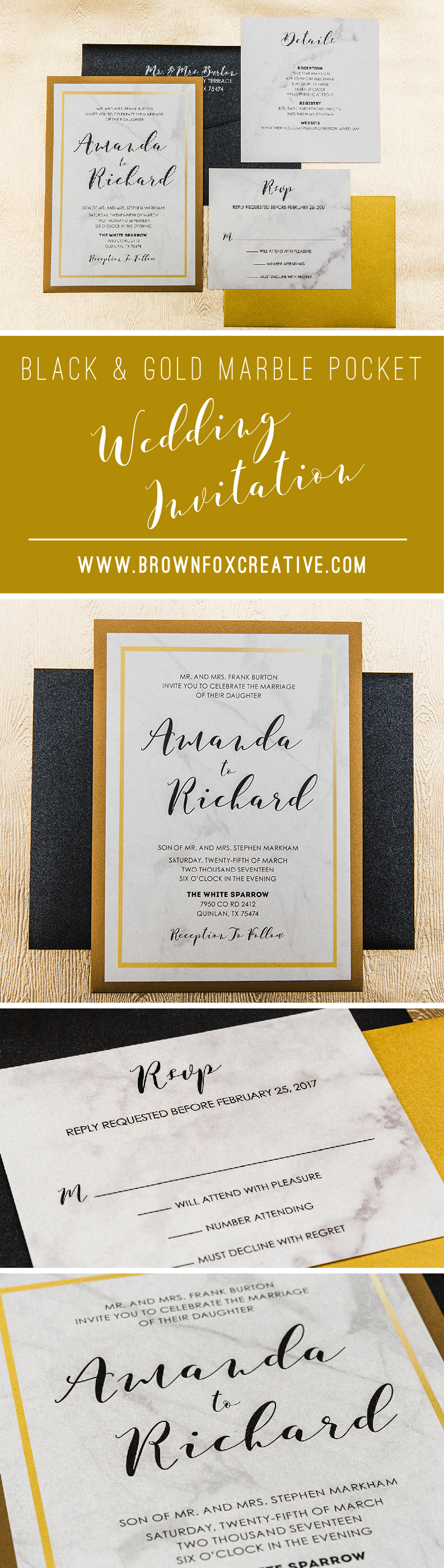 5x7 Formal Back Pocket Marble Wedding Invitation In Black And Gold