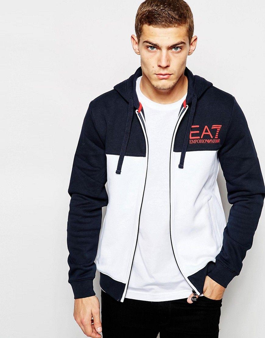 ea7 colour block hoodie