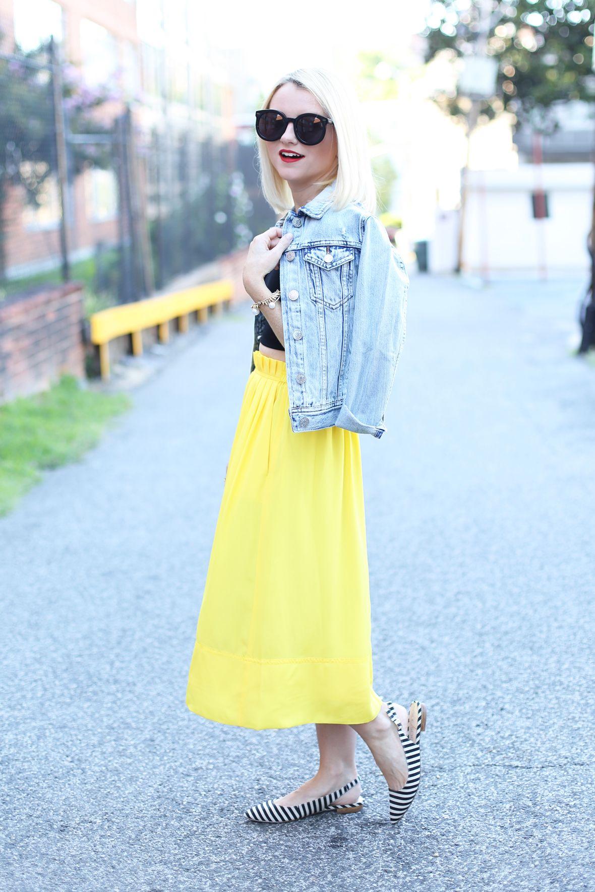 Yellow Midi Skirt and Denim Jacket on Poor Little It Girl - via @poorlilitgirl
