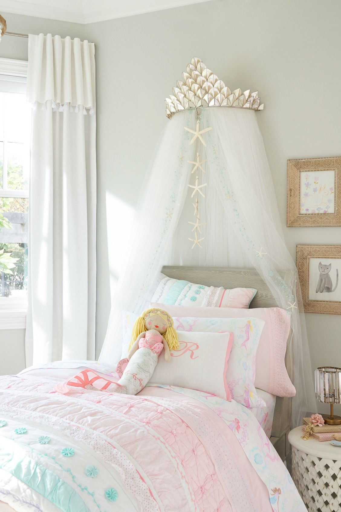 e10a4ff09 Add seaside accents to your Girl's Room with our Capiz Cornice & Glitter  Tulle Sheers.