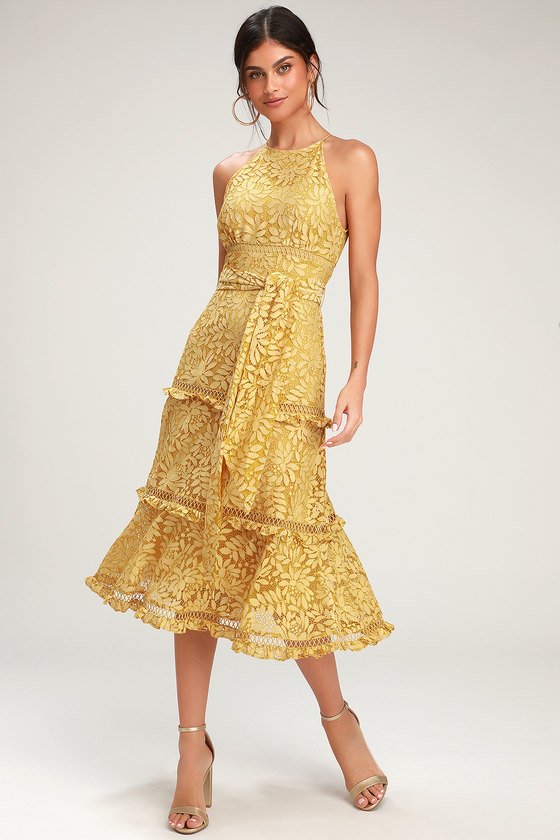 New Look Womens Go OCC Lace Wrp Asym Midi Dress