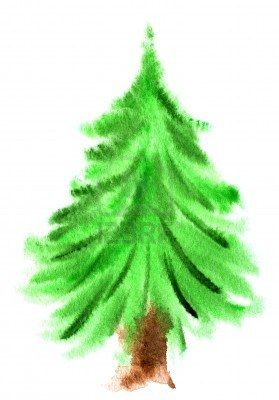 Stock Photo Watercolor Christmas Tree Watercolor Christmas