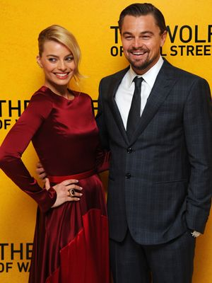 Well don't they make a pretty pair! 'Wolf of Wall Street' stars Leonardo DiCaprio and Margot Robbie attend the UK premiere of the film in London.