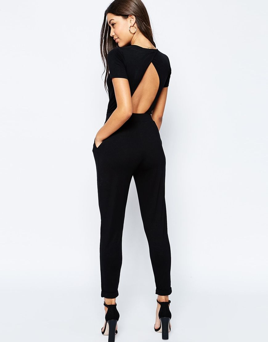 551f07b4fa7 DESIGN wrap front jersey jumpsuit with short sleeve in 2019