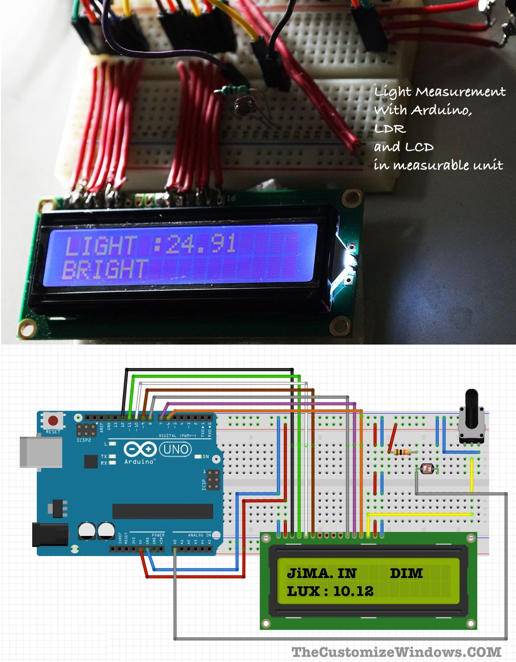 Light Measurement With Arduino Ldr And Lcd Technology Pinterest Custom Printed Circuit Board Pcb Pcba Segway Buy It Will Give You A Unit Of Intensity Like Lux Remark About The Condition As Dark Dim Bright Etc